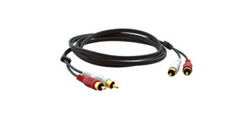 Kramer C-2RAM/2RAM-1 1ft 2 RCA (M) to 2 RCA (M) Molded Stereo Audio Cable
