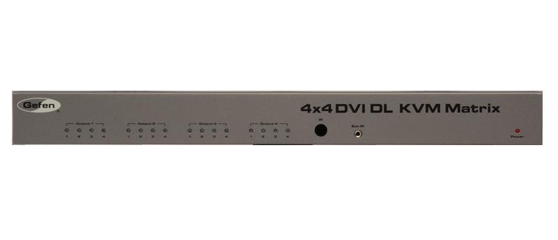 Gefen EXT-DVIKVM-444DL 4x4 DVI KVM Switcher, Audio & Discrete Remote Control