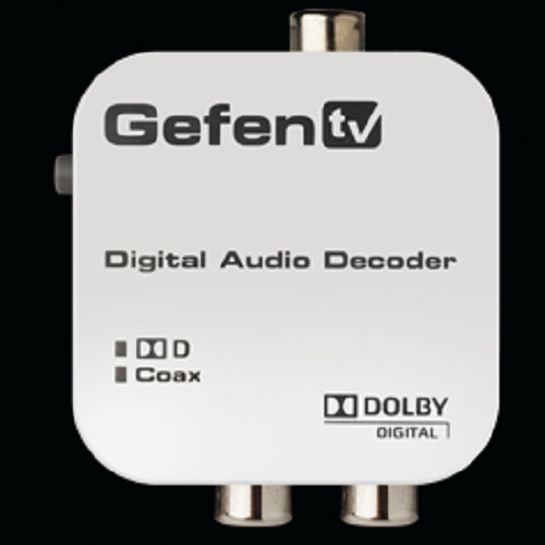 Gefen GTV-DD-2-AA Converts Dolby digital audio to stereo analog audio