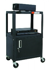 Buhl Adjustable Steel Cart with Locking Cabinet