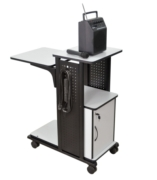Mobile Presentation Station with Locking Cabinet, 3-outlet Electric Assembly