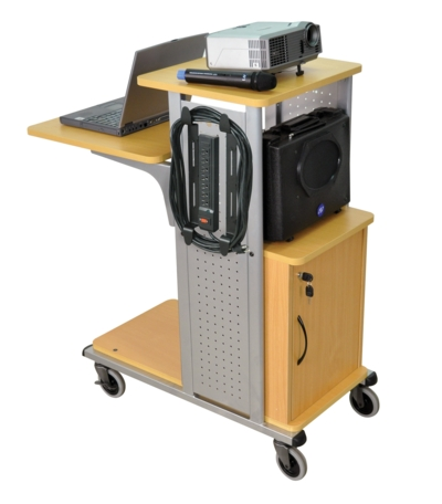 Mobile Presentation Station w/ Locking Cabinet, 7 Outlets, Nickel Steel Side