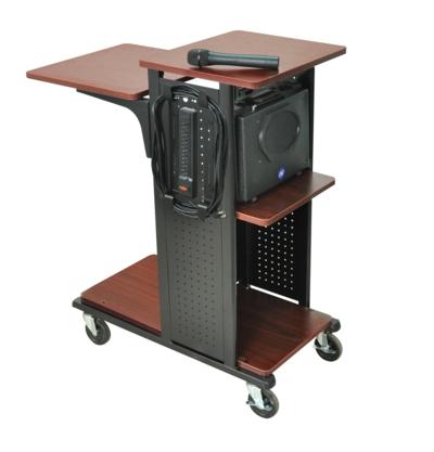 AmpliVox SN3325 Mobile Presentation Station, 7-outlets, Black Steel Side