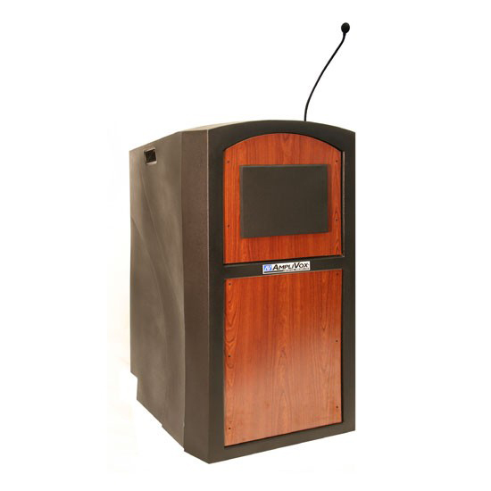 AmpliVox Sound Systems Pinnacle Lectern with Wireless Sound (Mahogany)