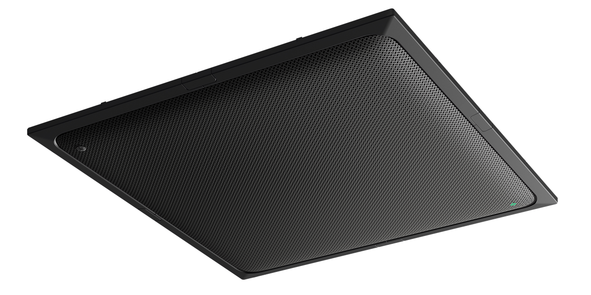 Yamaha UC ADECIA Ceiling Mic, Black, Processor & 2x Speakers, White