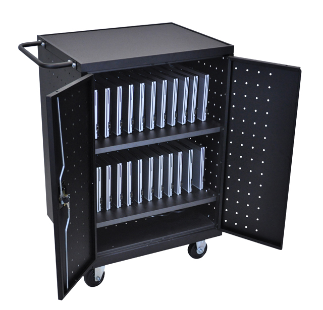 Luxor LLTP24-B Black 24 Laptop Computer Charging Cart