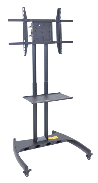 Luxor Adjustable Height Flat Panel Cart w/ Accessory Shelf & Rotating Mount