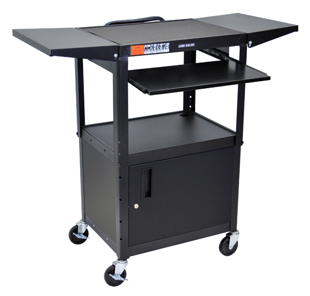 Luxor Adjustable Height Black Metal A/V Cart w/ Keyboard Tray & 2 Shelves