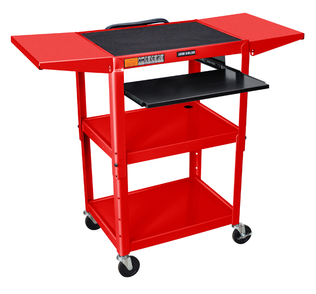 Luxor Adjustable Height Red Metal A/V Cart w/ Keyboard Tray