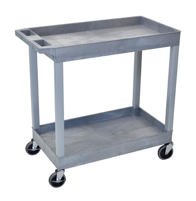 Luxor EC11-G High Capacity 2 Tub Shelves Cart in Gray