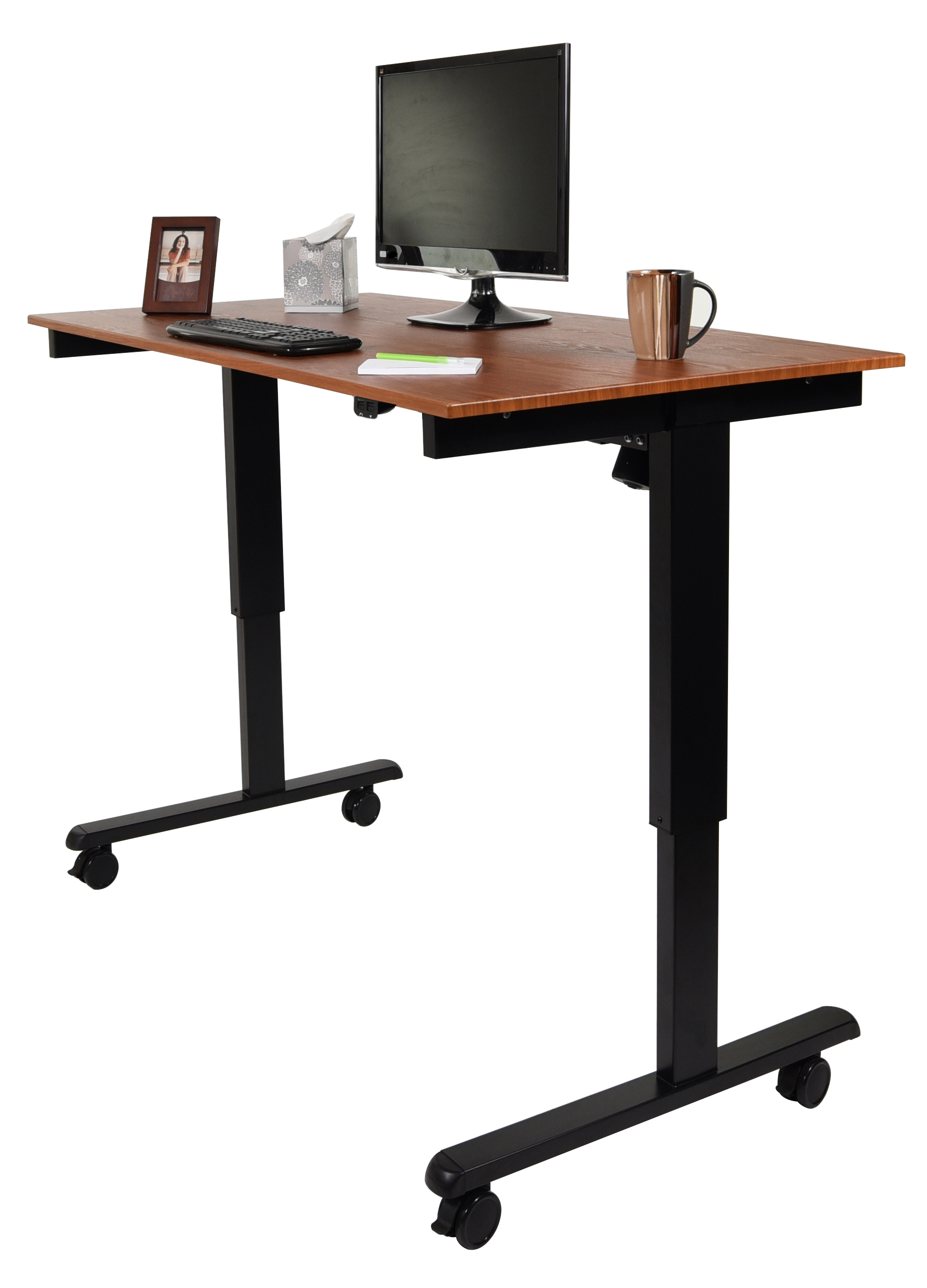 Luxor STANDE-60-BK/TK  60in.  Electric Standing Desk Black/Teak