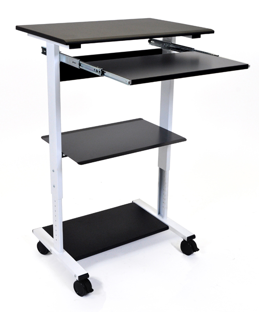 Luxor STAND-WS30 Mobile 3 Shelf Adjustable Stand Up Workstation