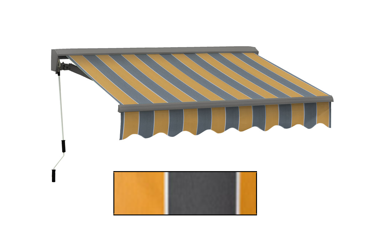 Advaning 10x8ft. C Series Manual Awning, Sunny Yellow w/ Gray Stripes