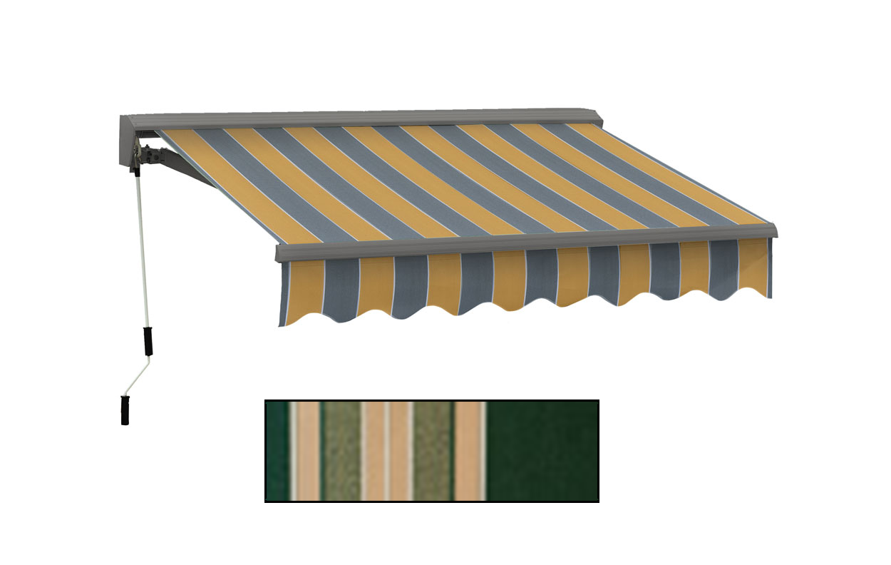 Advaning 10x8ft. C Series Manual Awning, Forest Green w/ Beige Stripes