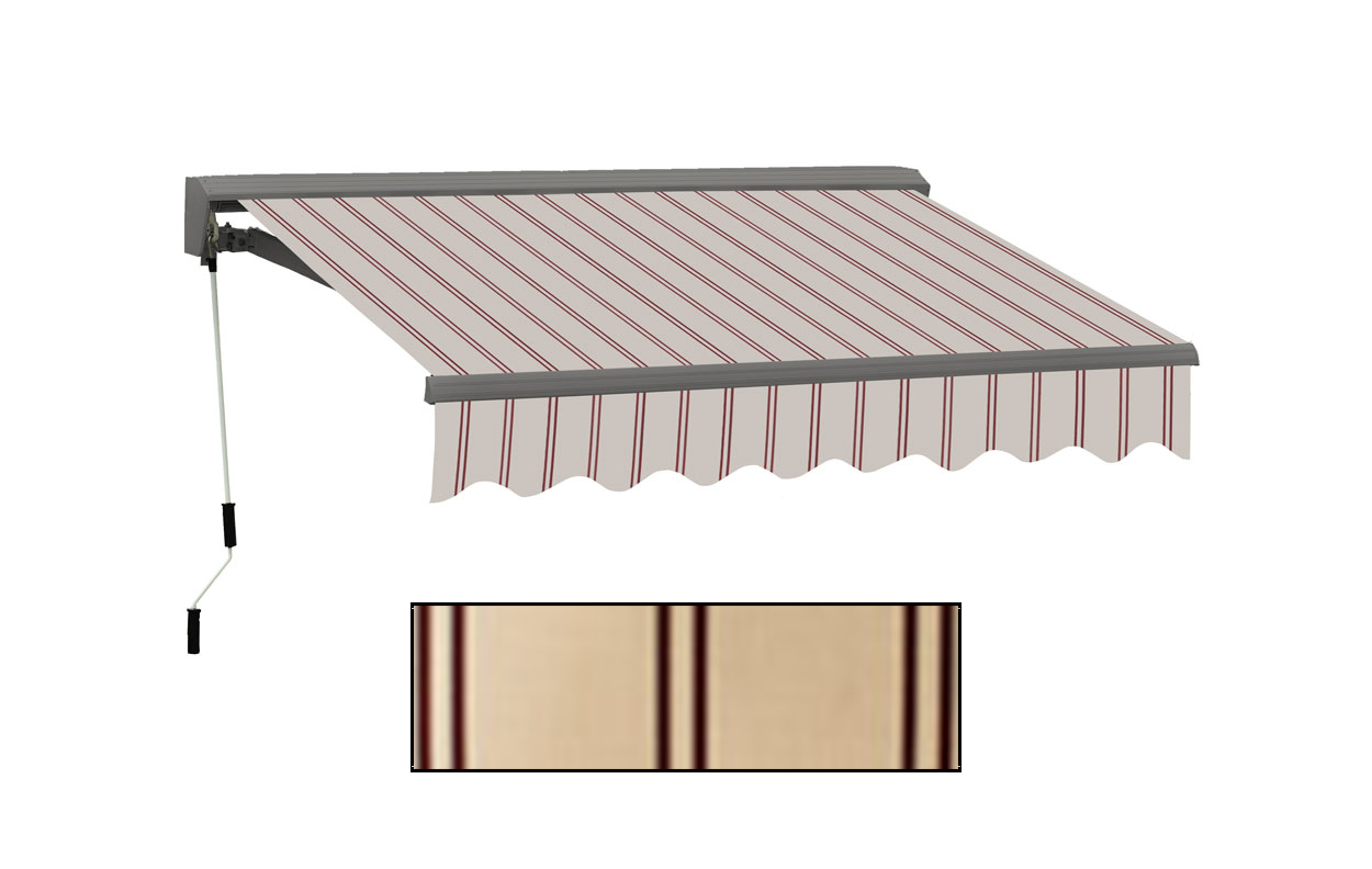 Advaning 10x8ft. C Series Electric Awning, Natural Beige w/ Brick Red Stripes