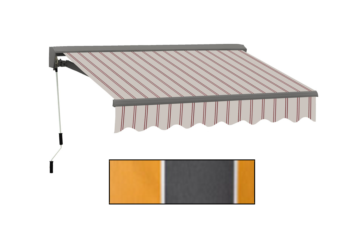 Advaning 12x10ft. C Series Electric Awning, Sunny Yellow w/ Gray Stripes