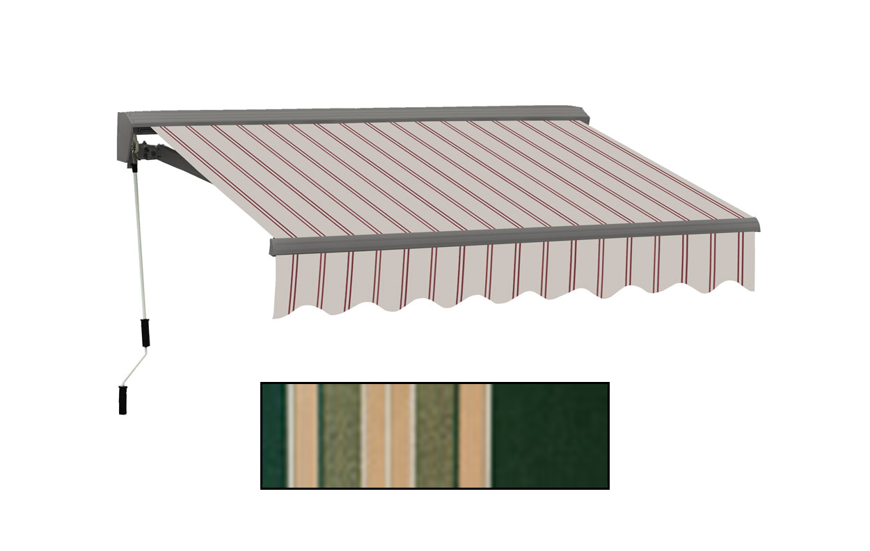Advaning 12x10ft. C Series Electric Awning, Forest Green w/ Beige Stripes