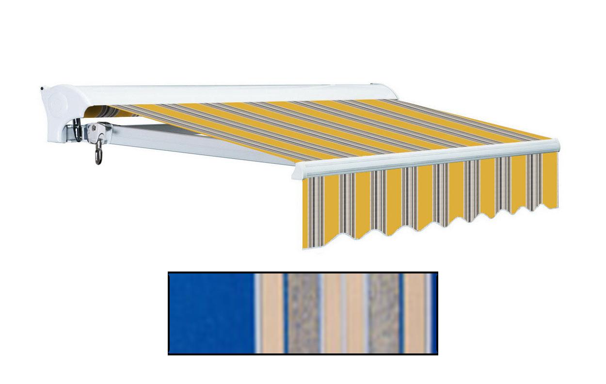 Advaning 10x8ft. L Series Manual Awning, Ocean Blue w/ Sand Beige Stripes