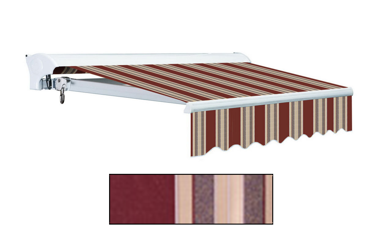 Advaning 10x8ft. L Series Electric Awning, Brick Red w/ Sand Beige Stripes