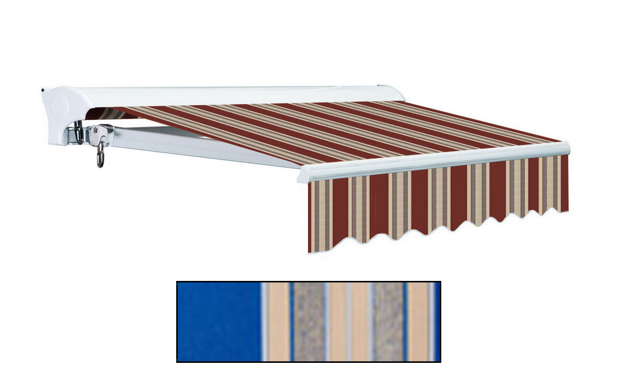 Advaning 10x8ft. L Series Electric Awning, Ocean Blue w/ Sand Beige Stripes
