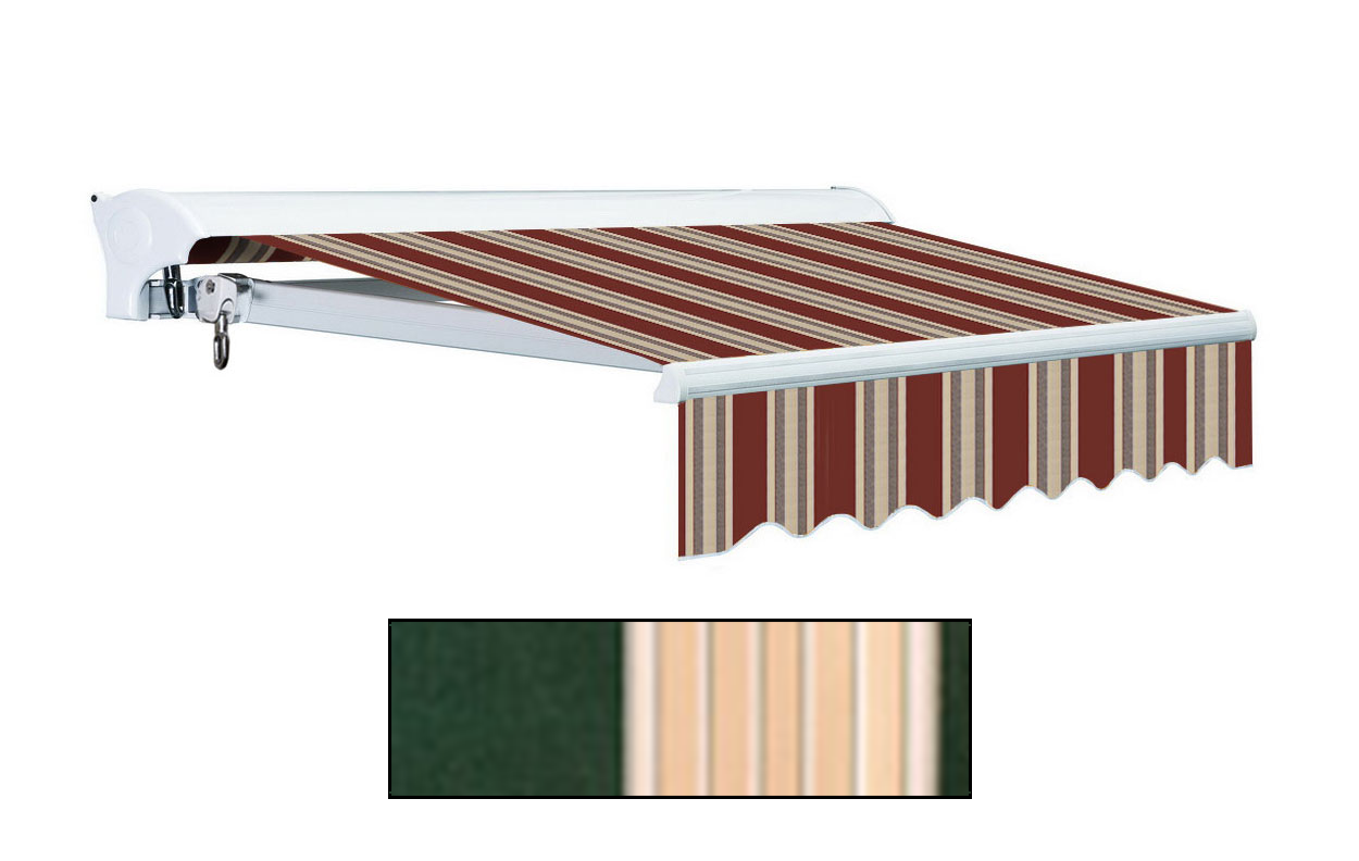 Advaning 12x10ft L Series Electric Awning, Garden Green w/ Sand Beige Stripes