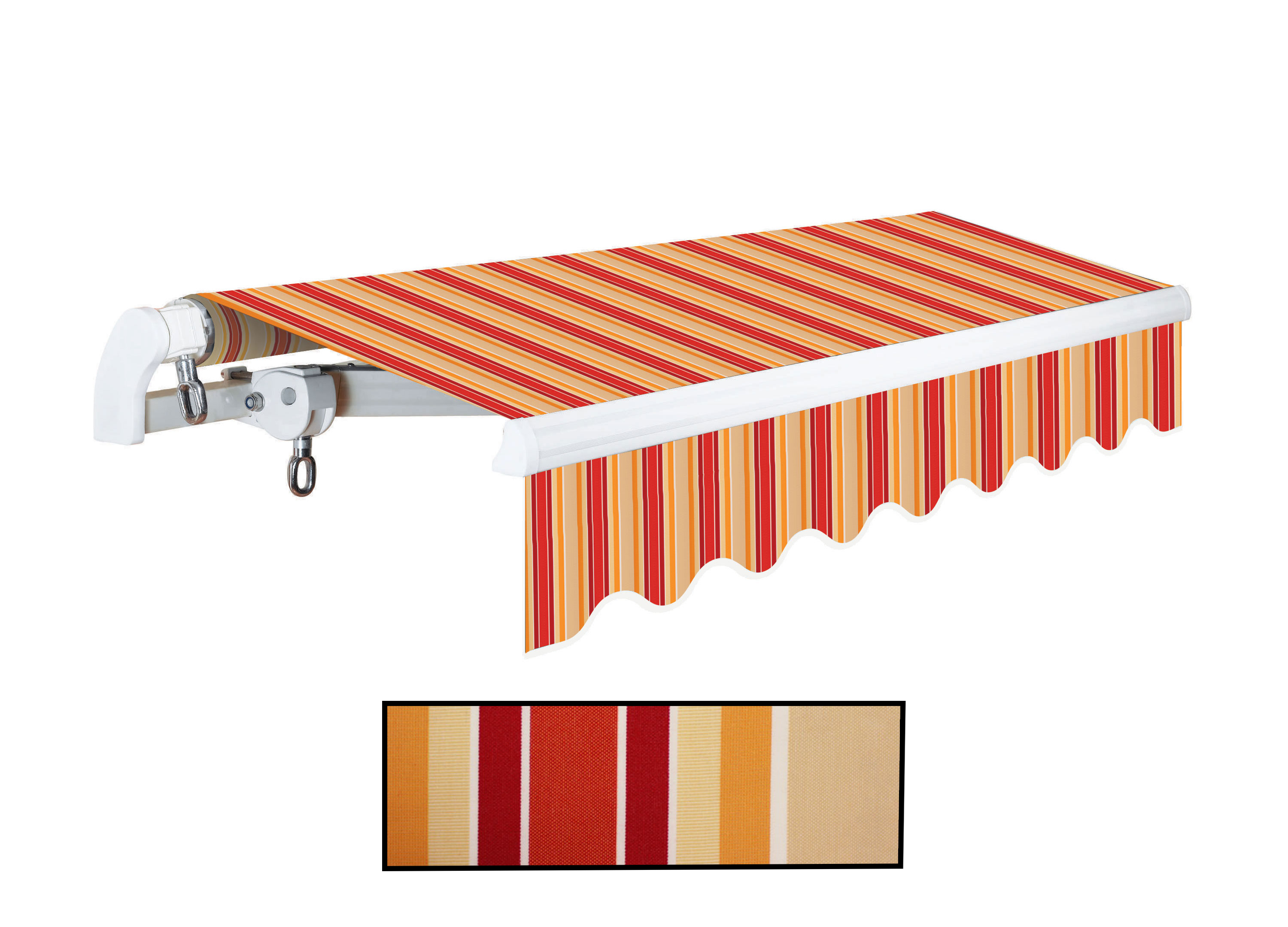Advaning 10x8ft. S Series Manual Awning, Desert Red w/ Sand Beige Stripes