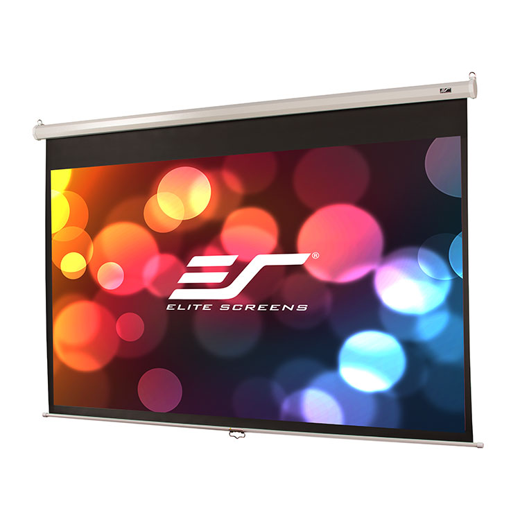 Elite M100XWH-E24 100in 16:9 Manual Screen, MaxWhite, White Case, 24in Drop