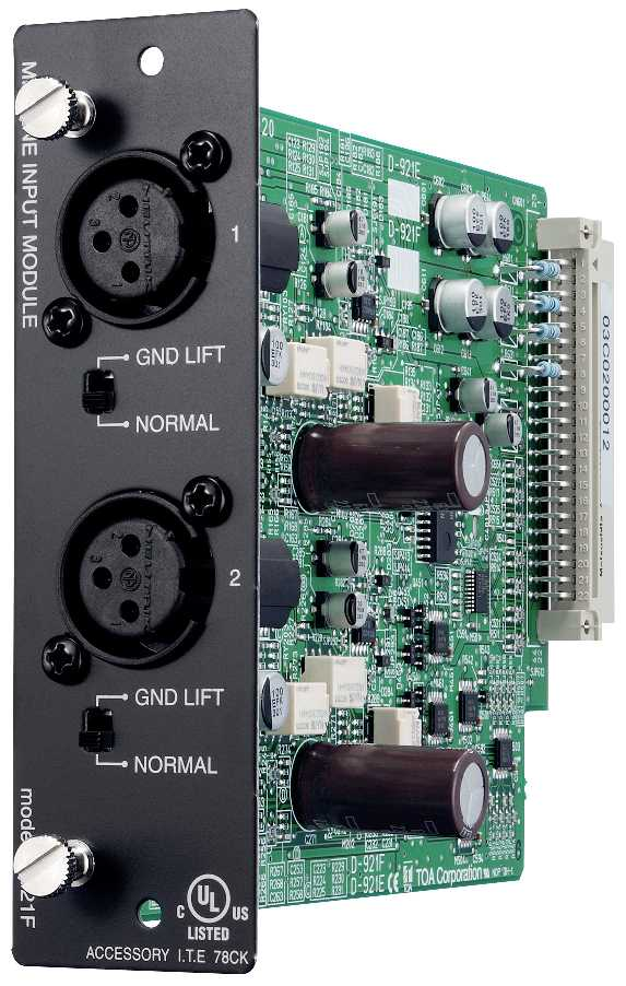 TOA D-921F 2-channel XLR Mic/Line Input Module for D-901 (24-Bit)