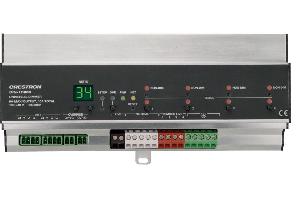 Crestron DIN-1DIM4 4-channel DIN Rail Dimmer