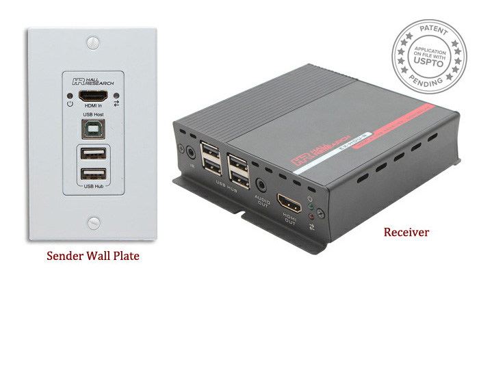 Hall EX-HDU-IP HDMI & USB Extension on CAT6 w/ Audio, Integrated Control & IP