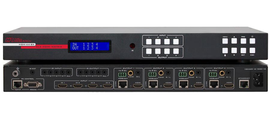 Hall HSM-44-BX 4K 4X4 HDMI Matrix Switch w/ HDMI & HDBaseT outputs