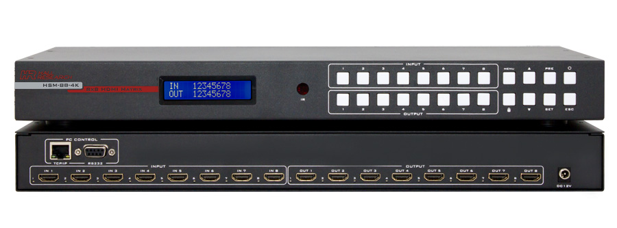 Hall HSM-88-4K 4K 8X8 HDMI Matrix Switch with IR, RS-232, and IP Control