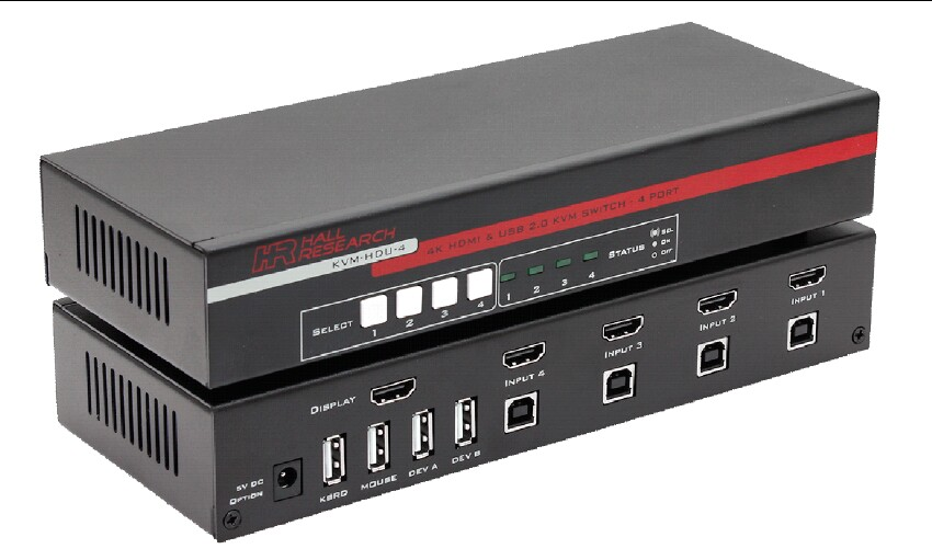 Hall KVM-HDU-4 4-Port HDMI KVM Switch with USB 2.0 and 4K Video Support