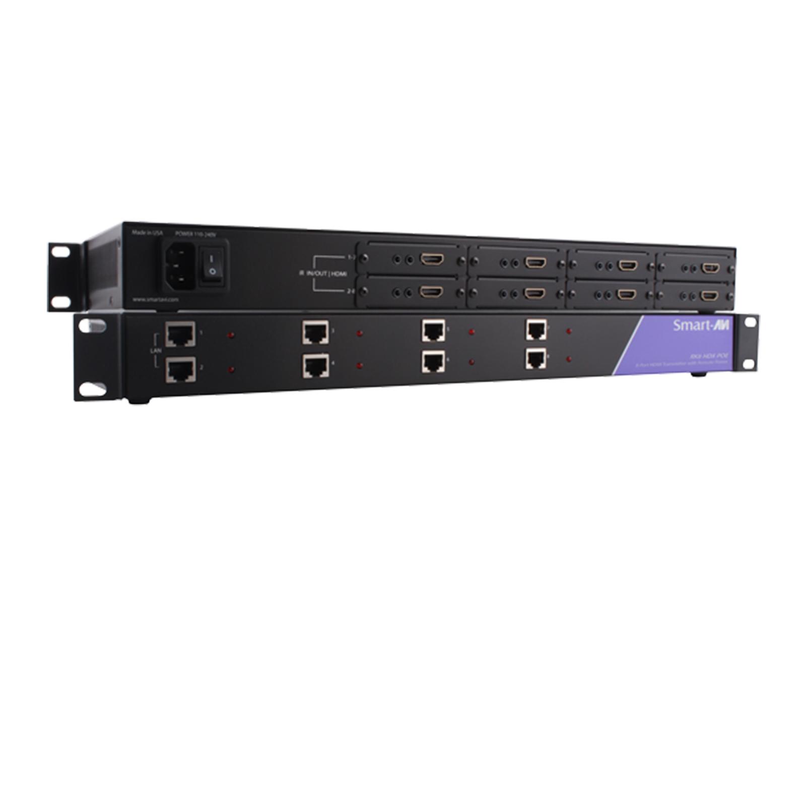SmartAVI RK8-HDX-POE-S HDBaseT Rack Mount 8-Port HDMI & IR over Cat5e/6