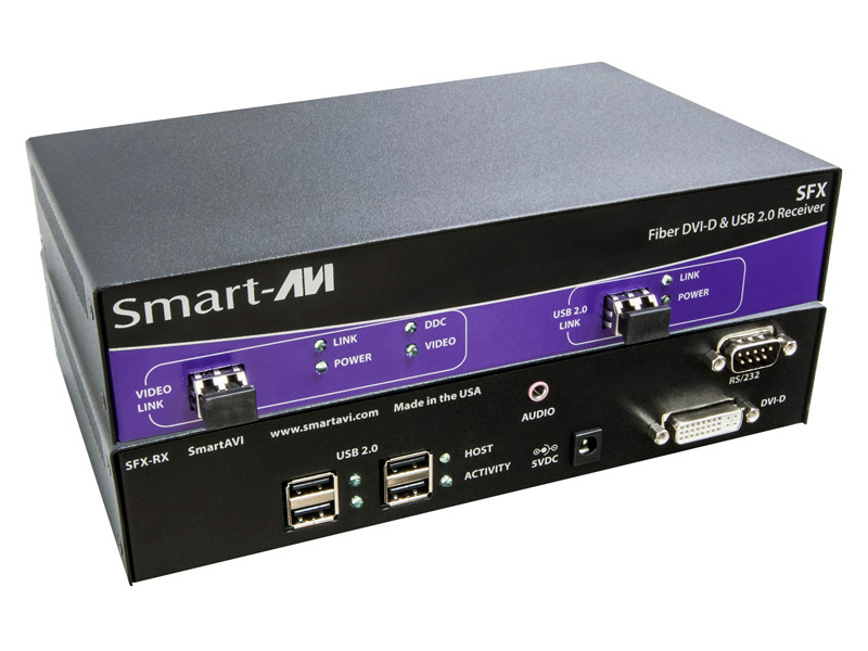SmartAVI SFX-M-S DVI-D, USB2.0 Multimode Fiber Extender Up to 1500ft