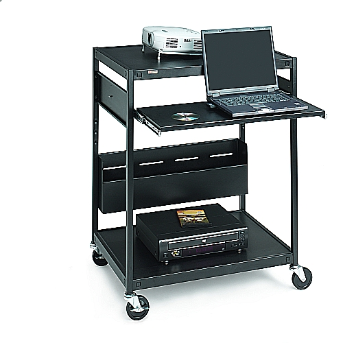Bretford ECILS1-BK Multimedia Cart, Tall, 4in. Caster, Black
