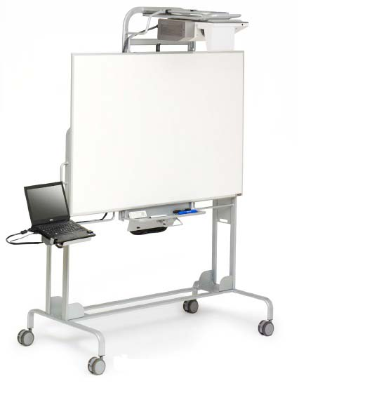 Mobile Interactive Whiteboard with Universal Mount, Aluminum Finish