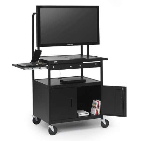 Flat Panel Cabinet Cart with Laptop Shelf, for 26 to 42-inch Monitors
