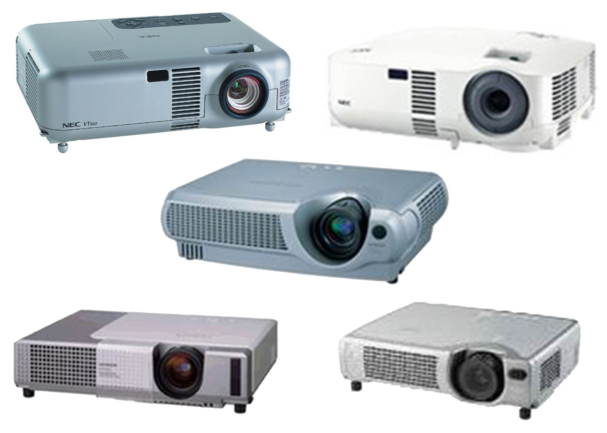 CLEARANCE BUNDLE - Assorted Used NEC and Hitachi SVGA Projectors, 5-Pack