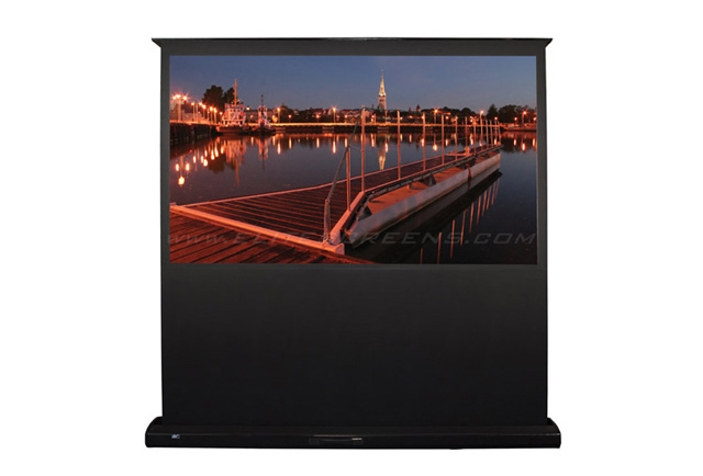 Product wlite feb106h kestrel home series 106in motorized for Motorized floor up screen