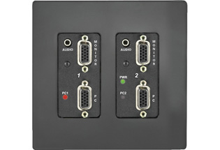 QuickMedia Wall Plate Computer Center, Dual Input, Black, Textured