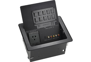 QuickMedia FlipTop Media Center w/ RGB Cable Storage, Keypad, Aluminum.