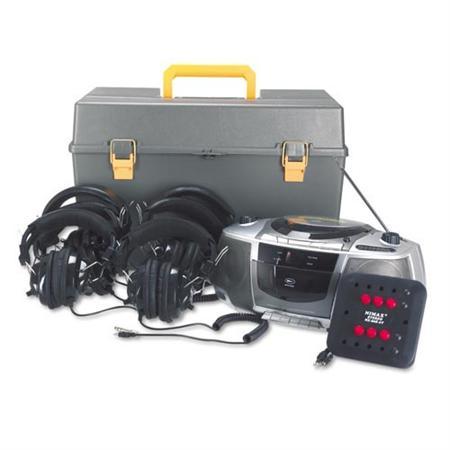 AmpliVox SL1071 6-Station Deluxe Listening Center/Boombox w/ Headphones