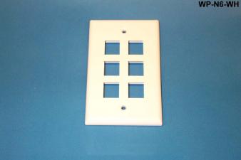 Liberty WP-N6-WH 6 Port Single Gang Wall Plate, White