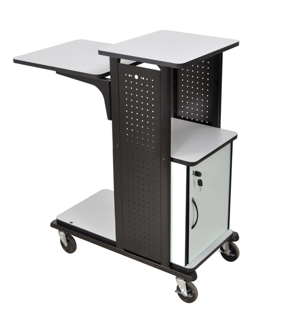Heavy Duty Presentation Station with Cabinet, Gray