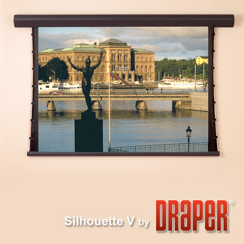 Draper 107401QLP Silhouette/V Motorized Front Screen 100in, Quiet LV PnP