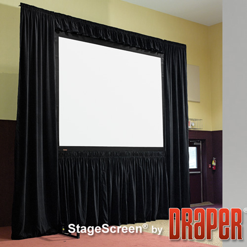 Draper 384062 StageScreen Dress Kit w/ Case - Rich Velour, 121.5in x 216in