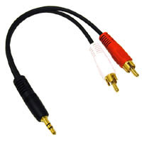C2G 40421 3.5mm Stereo Male to (R/W) RCA Male Y-Cable